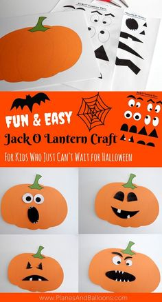 Fun Halloween Jack O Lantern craft for kids to make. I am glad I don't have to look endlessly for pumpkin crafts for preschool kids any longer. Great for practicing cutting skills as well as activities for free play.