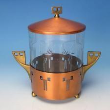 WMF Art Nouveau Arts & Crafts Ostrich Mark Copper Covered Humidor or Biscuit Jar