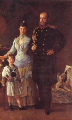 Tsar Alexander III (Alexander Alexandrovich Romanov) (1845-1894) Russia, wife Tsarina Marie Feodorovna (Dagmar of Denmark) (1847-1928) & 1st Child Tsarevich Nicholas II (Nikolay Alexandrovich Romanov) (1868-1918).