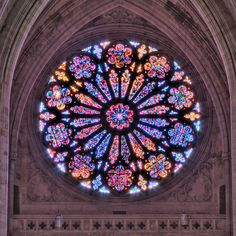 Art - Windows & Stained Glass - Creation Rose Window at the Washington National Cathedral Stained Glass Rose, Stained Glass Church, Stained Glass Windows, Cathedral Windows, Church Windows, Leaded Glass, Mosaic Glass, L'art Du Vitrail, Washington National Cathedral