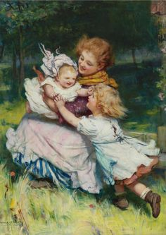 """Peep Bo!"" -- by Arthur John Elsley (1860 – 1952, English)"