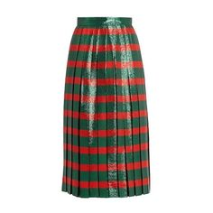Gucci Striped pleated lamé skirt ($2,200) ❤ liked on Polyvore featuring skirts, green stripe, high waisted pleated skirt, green skirt, knife-pleated skirts, pleated skirt and high-waist skirt