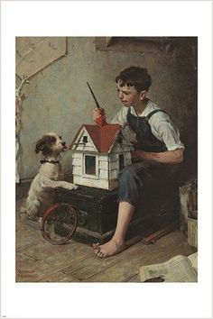 painting the little house NORMAN ROCKWELL classic art poster AMERICANA 24X36 Brand New. 24x36 inches. Will ship in a tube. - Multiple item purchases are combined the next day and get a discount for do