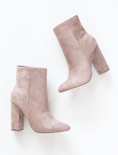 Blush faux suede high ankle booties with side zipper and heel. Slightly pointed toe. This style runs small, be sure to order a half size up. - All man made material - great website for shoes Zapatos Shoes, Shoes Heels, Pumps, Pink Shoes, Ankle Booties, Bootie Boots, Shoe Boots, Suede Booties, Nude Ankle Boots