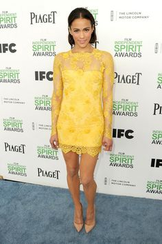 Paula Patton Steps Out After Split at Independent Spirit Awards Photo Paula Patton steps out looking absolutely gorgeous while attending the 2014 Film Independent Spirit Awards held at the beach on Saturday (March in Santa Monica,… Paula Patton, Cate Blanchett, Celebrity Red Carpet, Celebrity Style, Santa Monica Beach, Christian Louboutin, Yellow Lace Dresses, Spirit Awards, Lace Dress With Sleeves