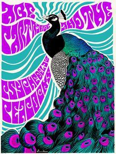 Psychedelic Peacock poster by Darren Grealish Psychedelic Rock, Psychedelic Drawings, Psychedelic Posters, Tour Posters, Band Posters, Music Posters, Pop Art, Zentangle, Etiquette Vintage