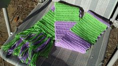 Double Crochet Scarf in Lavender and Lime Green.