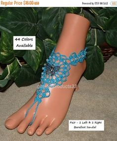 Sweet butterfly lace #anklet sandals that would add decorations to any leg or ankle.  The perfect women foot jewelry for a pool or beach wedding.  Great #steampunk #boho yoga ... #crochet #yoga