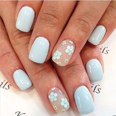 Sky Blue April nails 2016, Caviar nails, Easy nail designs, #Floral, flower nail art, Flower nails, #nail-art