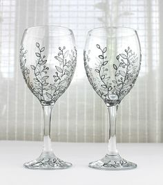 Wine Glasses, Wedding Glasses,  Anniversary Glasses, Toasting Glasses, Hand painted, Set of 2, Silver