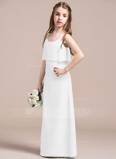 280fcf1e0287 A-Line/Princess Scoop Neck Floor-Length Chiffon Junior Bridesmaid Dress  With Bow