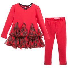 Deux Par Deux Girls Red Tartan Top & Leggings 2 Piece Set at Childrensalon.com