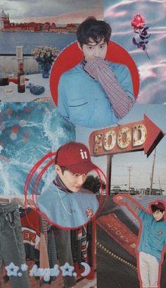 EXO Suho Junmyeon wallpaper aesthetic blue Suho Exo, Exo K, Kim Joon Myeon, Blue Aesthetic, Aesthetic Wallpapers, Kpop, Lettering, Cute, Aesthetics