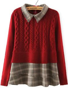 Red Lapel Plaid Hem Cable Knit Sweater