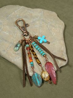 Purse Charm - Zipper Pull - Keychain Charm - Charm Tassel - Southwest Charms - Belt Loop Clip - Native Tribal Charms. $28.00, via Etsy.