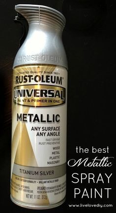 Rustoleum Titanium Silver Spray Paint - creates the most realistic 'brushed nickel' finish! Rustoleum Titanium Silver Spray Paint - creates the most realistic 'brushed nickel' finish! Spray Painting, Painting Tips, Painting Art, Metallic Spray Paint, Brushed Nickel Spray Paint, Brushed Nickel Light Fixtures, Gold Spray, Lamp Makeover, Paint Furniture
