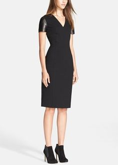 Oh that Burberry dress. Obsessed with this black leather sleeve sheath dress.