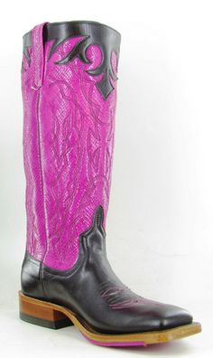 Black and pink custom Anderson Bean boots.