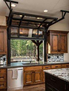 Kitchen window opens like a garage door.