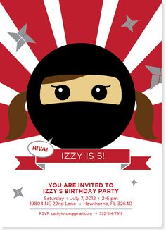 kids ninja birthday invitation