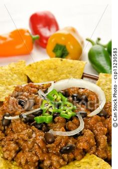 Stock Photo - Nachos and chili con carne - stock image, images, royalty free photo, stock photos, stock photograph, stock photographs, picture, pictures, graphic, graphics