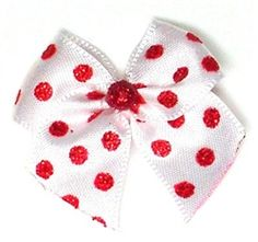 Groomer: Red Dots On White Dog Hair Bow $12