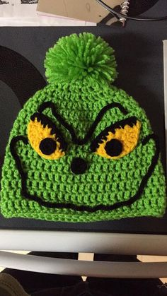The Grinch crochet hat.