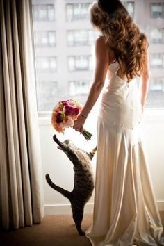 So cute. I want a picture like this on my wedding day:) no way are my animals going to be completely left out!