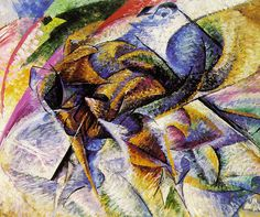 """Umberto Boccioni's """"Dynamism of a Cyclist""""  The allure of futurist painter Umberto Boccioni lay in his careful attention to the details of movement and dynamism. This painting for example, shows what we would expect to be the speed of cyclist; however, the passage of time becomes locked into one frame, and the various movements of the individual and his mechanism are forced into one two-dimensional glance."""