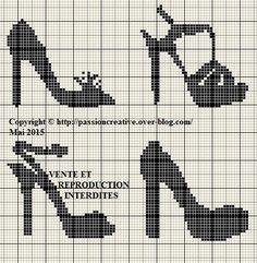 Shoes x-stitch pixels Loom Patterns, Beading Patterns, Cross Stitch Charts, Cross Stitch Patterns, Cross Stitching, Cross Stitch Embroidery, Pixel Art, Stitches Wow, Cross Stitch Silhouette