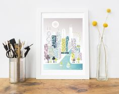 Chicago Print, Skyline Cityscape, Wall Art Poster, $12.00 https://www.facebook.com/permalink.php?story_fbid=1304820462917027&id=958214670910943