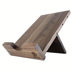 Solid Wood Cookbook Stand Kitchen iPad Holder for Tablets, Books, Documents, Boxed Wine; Adjustable Portable Desktop Podium Display Easel for Menus, Guest Book, iPad, Copyholder or Book Rest