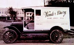 Old Winder Dairy delivery truck. Winder dairy products. Hormone free. Fresh. The best Skim Milk. Ever.