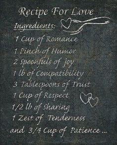 Recipe for love. Valentines or Anniversary card idea.