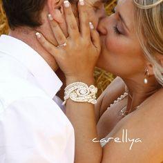 Wedding Cuff Beaded Bracelet  Bead Embriodered Jewelry by carellya, $95.00