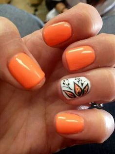 65 Lovely Summer Nail Art Ideas Kick off that summer vibe with this hot and bright orange nails to accompany you! Coat your nails with matt. Love Nails, Fun Nails, Pretty Nails, Gorgeous Nails, Orange Nail Art, Orange Pink, Bright Orange Nails, Orange Color, Orange Glitter