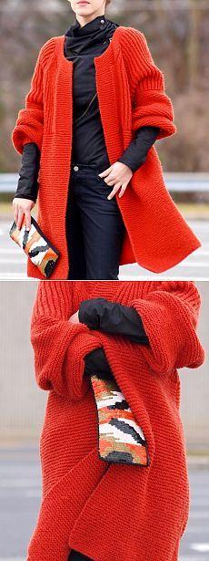 Кардиганчик очень даже не плох /Красный вязанный спицами красный кардиган теплый и уютный /