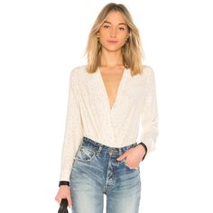Rag & Bone Victor Blouse ($350) ❤ liked on Polyvore featuring tops, blouses, fashion tops, silk blouse, pink silk top, polka dot top, surplice blouse and surplice wrap top
