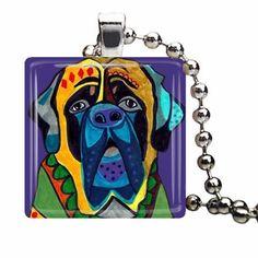 50 off  Mastiff Art Jewelry Necklace Pendant by HeatherGallerArt, $15.00