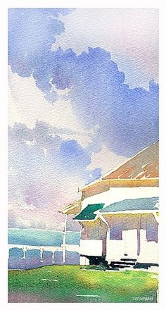 pigeon key 2 by Thomas  W. Schaller Watercolor ~ 11 inches x 5 inches