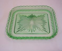 Image detail for -Vintage Green Depression Glass Tray, Home Decor, Art Deco Glass, 1930s ...