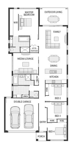 The Avoca Series represents flexible living and value for money in new home designs from one of Australia's leading home builders. My House Plans, Family House Plans, Small House Plans, House Floor Plans, New Home Designs, Home Design Plans, Building Design, Building A House, Small Villa