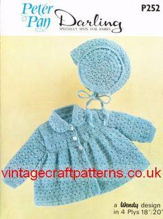 Peter Pan 252 vintage baby crochet matinee coat and by Ellisadine, £1.00