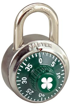 st patricks day promotion with a four leaf clover on a master lock 1502grn