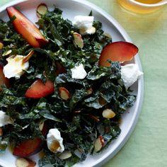 Ingredients: Kale, plums, goat cheese, seasoned almonds, lemon juice, honey, low-sodium soy sauce, Dijon mustard, olive oil, freshly ground black pepper Calories: 209 | Health.com