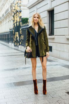 velvet pea coat and boots