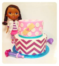 Looking for cake decorating project inspiration? Check out Chevron Doc McStuffins  Cake by member kimi1327. - via @Craftsy