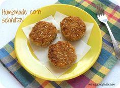corn schnitzel. fried corn patty. Idea for toddler lunch.