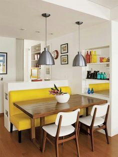 Dining - i love the yellow bench