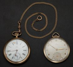 Two Omega 12 Size Pocket Watches Runners Case: gold filled, 12 size, one is snap back, the one with the chain is - Available at Tuesday Internet Watch and. Pocket Compass, Pendant Watch, Pocket Watches, Snap Backs, Runners, Omega, Markers, Engine, Roman